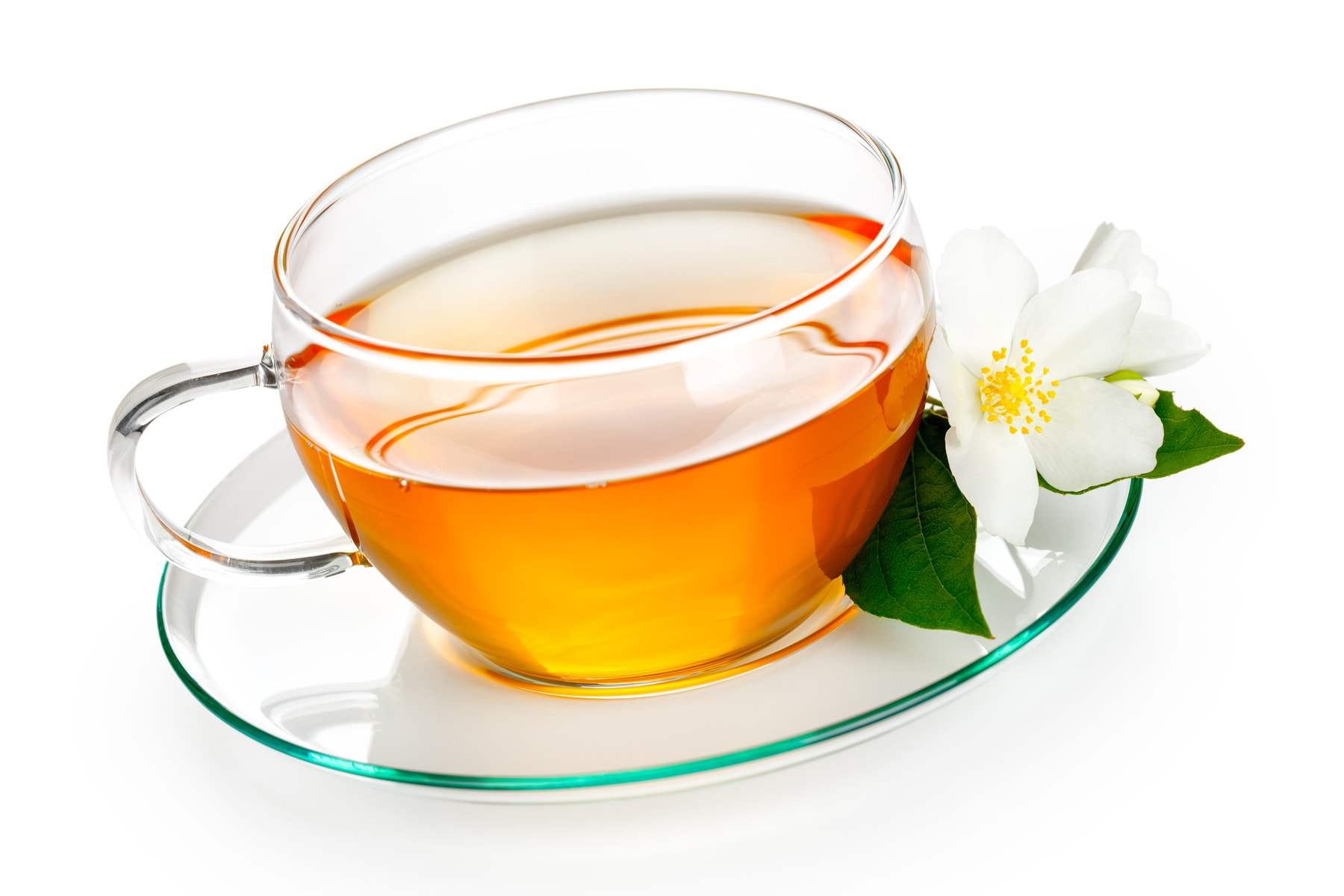 Jasmine tea with jasmine herb flower on white background